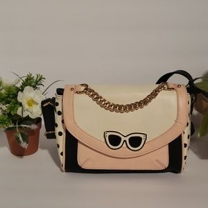 Aldo pink white and black polka dot crossbody purs